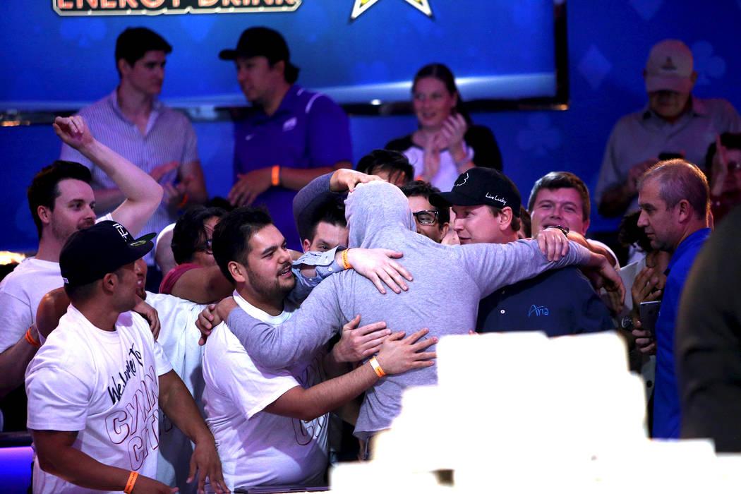 John Cynn reacts after winning the World Series of Poker tournament in Las Vegas, Sunday, July 15, 2018. Rachel Aston Las Vegas Review-Journal @rookie__rae