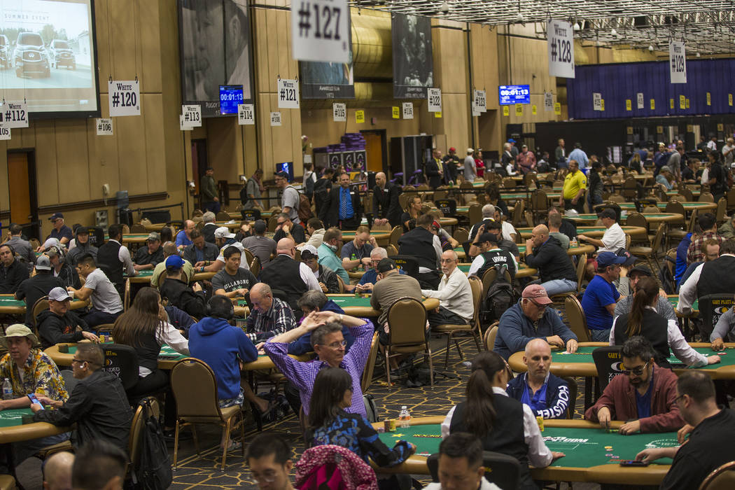 Poker players compete during day five at the World Series of Poker at the Rio Convention Center in Las Vegas, Monday, July 9, 2018. Rachel Aston Las Vegas Review-Journal @rookie__rae