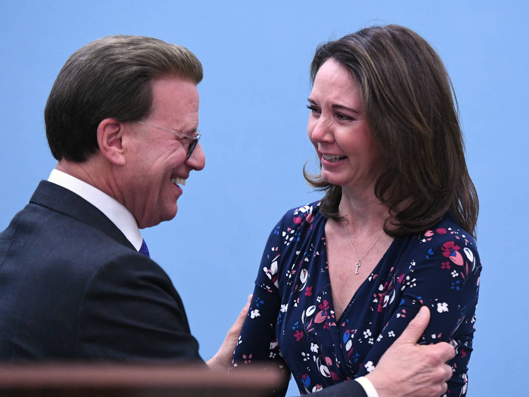 Lowell Milken, chairman and co-founder of the Milken Family Foundation, congratulates Wendy Shirey on her award on Wednesday, Dec. 19 at Pinecrest Academy Horizon. (Milken Family Foundation)