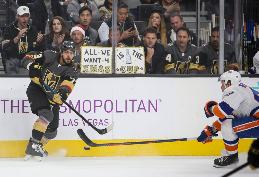 Vegas Golden Knights center Brandon Pirri (73) drives the puck forward during the first period of an NHL hockey game at T-Mobile Arena in Las Vegas, Thursday, Dec. 20, 2018. Caroline Brehman/Las V ...