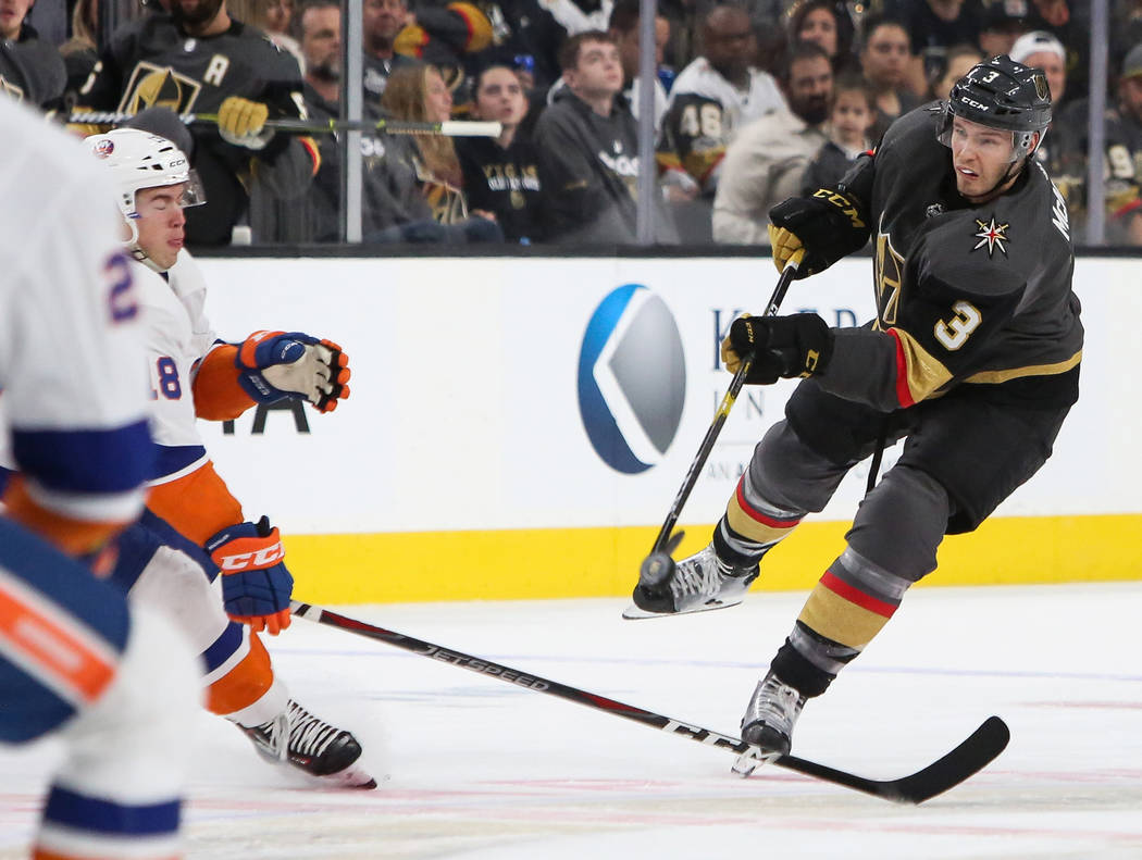 Vegas Golden Knights defenseman Brayden McNabb (3) takes a shot on goal during the first period of an NHL hockey game at T-Mobile Arena in Las Vegas, Thursday, Dec. 20, 2018. Caroline Brehman/Las ...