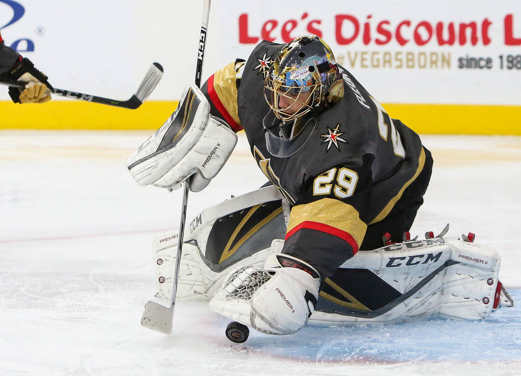 Vegas Golden Knights goaltender Marc-Andre Fleury (29) stops the puck during the second period of an NHL hockey game at T-Mobile Arena in Las Vegas, Thursday, Dec. 20, 2018. Caroline Brehman/Las V ...