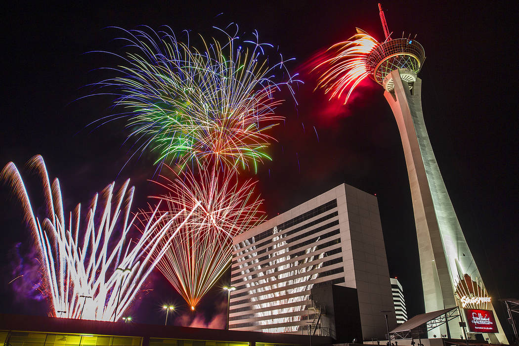 fireworks fill the las vegas skyline at the elation rooftop pool at the stratosphere hotel