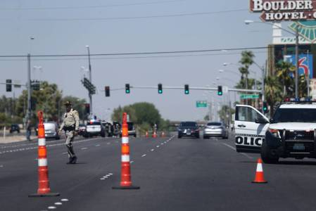 Las Vegas police activity on Boulder Highway is pictured in