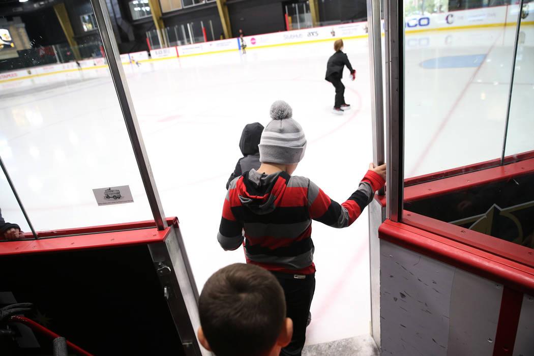 Children take the ice for the Jake Kielb's Hockey Foundation open skate session at City National Arena in Las Vegas, Saturday, Aug. 25, 2018. Erik Verduzco Las Vegas Review-Journal @Erik_Verduzco
