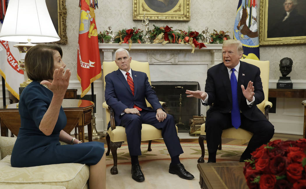 President Donald Trump and Vice President Mike Pence, meet with House Minority Leader Nancy Pelosi, D-Calif., left, and Senate Minority Leader Chuck Schumer, D-N.Y., not shown, in the Oval Office ...