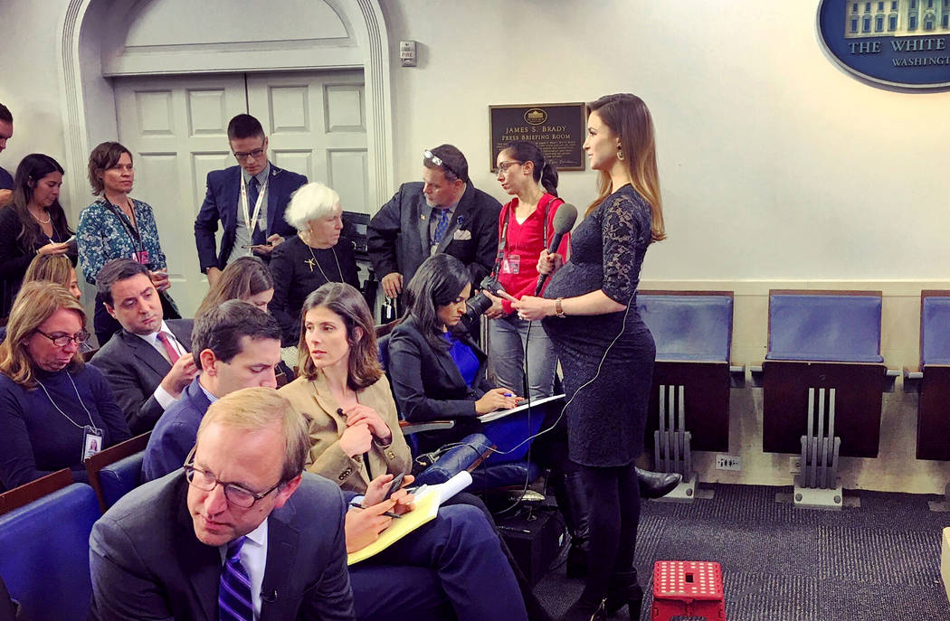 Kristin Fisher of Fox News in the White House briefing room. (Eric Conner/Fox News)
