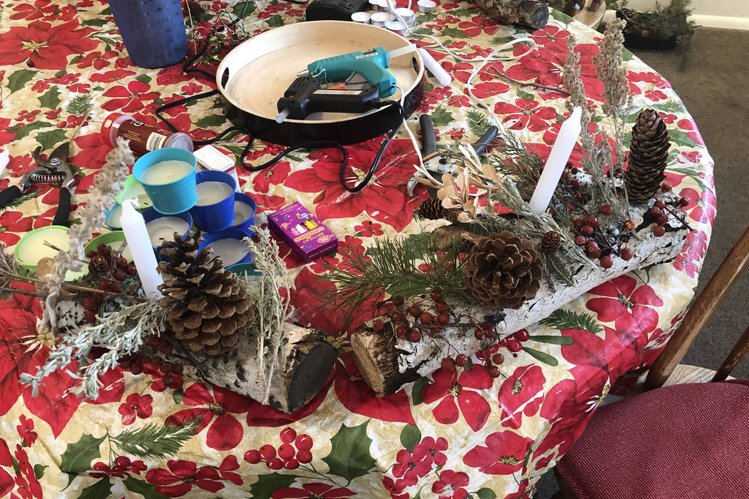 Yule log materials are shown at Dragonfly Gallery in Lava Hot Springs, Idaho on Dec. 21, 2018. (John Katsilometes/Las Vegas Review-Journal) @JohnnyKats