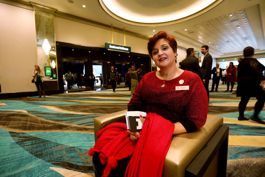 Angelica Santana poses for a photo at the MGM Grand Conference Center in Las Vegas, Friday, Dec. 22, 2018. Santana joined the MGM Grand right before it opened in 1993. Today she works in the prope ...