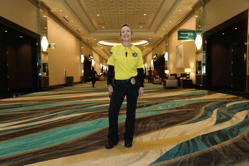 Katherine Stiglitz poses for a photo at the MGM Grand Conference Center in Las Vegas, Friday, Dec. 22, 2018. Stiglitz joined MGM Grand in the summer of 1993 as a security officer to guard its c ...