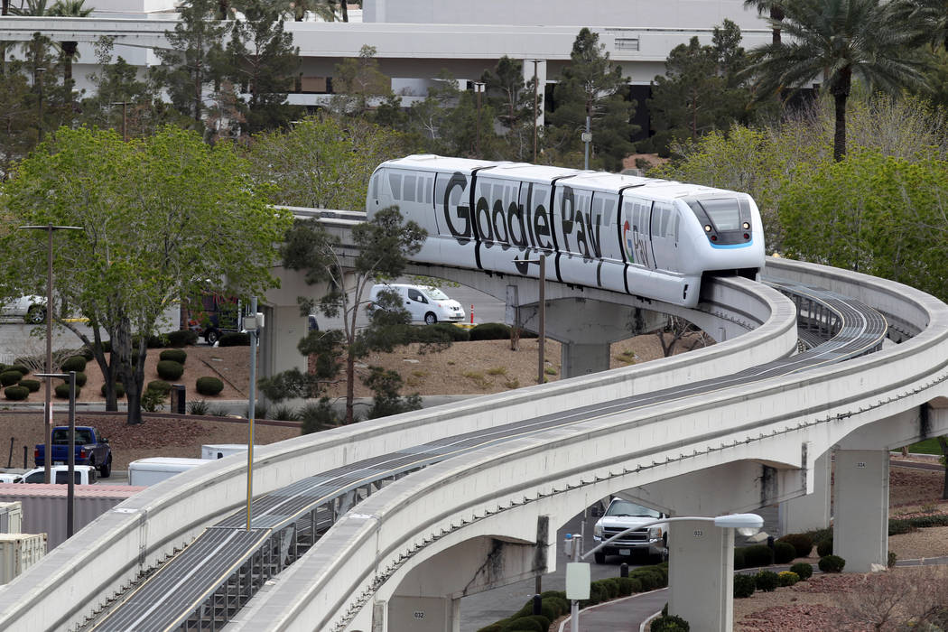 The Las Vegas Monorail near the Westgate Tuesday, March 20, 2018. The Las Vegas Monorail Co. hopes to extent the existing 3.9-mile SLS to the MGM route an additional 1.14 miles to Mandalay Bay. K. ...