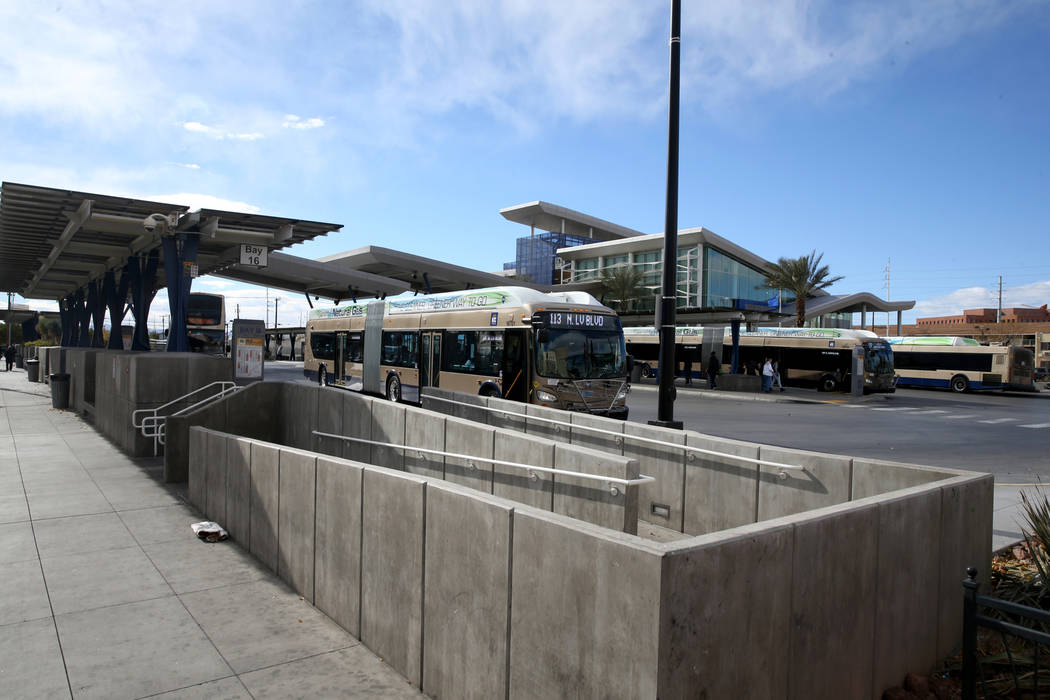 Busses at the Bonneville Transit Center in downtown Las Vegas Friday, Dec. 28, 2018. K.M. Cannon/Las Vegas Review-Journal @kmcannonphoto