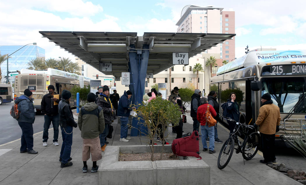 Riders board a bus at the Bonneville Transit Center in downtown Las Vegas Friday, Dec. 28, 2018. K.M. Cannon/Las Vegas Review-Journal @kmcannonphoto