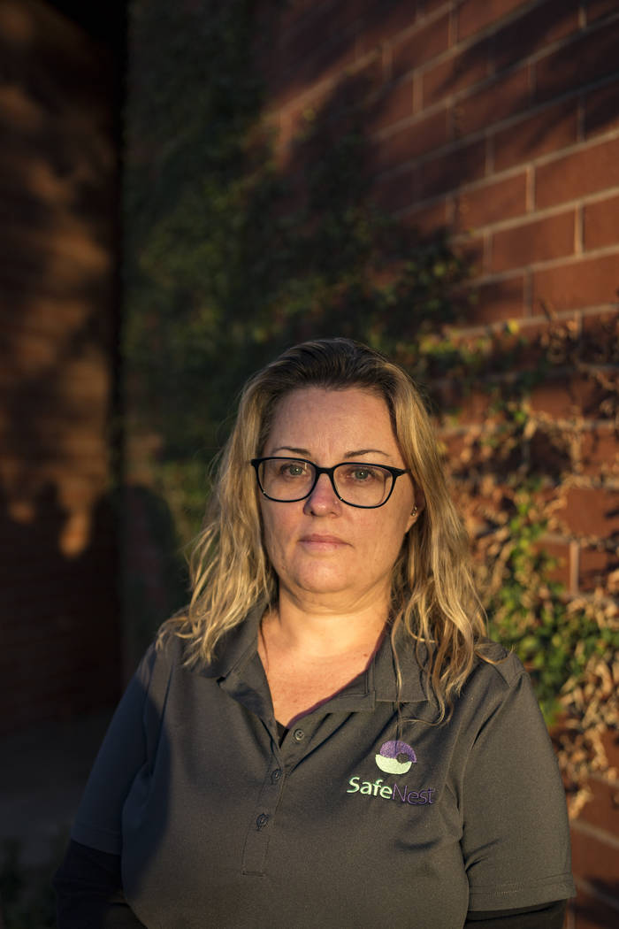 Julie Ferrari, a survivor of domestic violence, outside the SafeNest offices in Las Vegas, Thursday, Dec. 20, 2018. Ferrari survived abusive relationships and is now a volunteer for SafeNest after ...