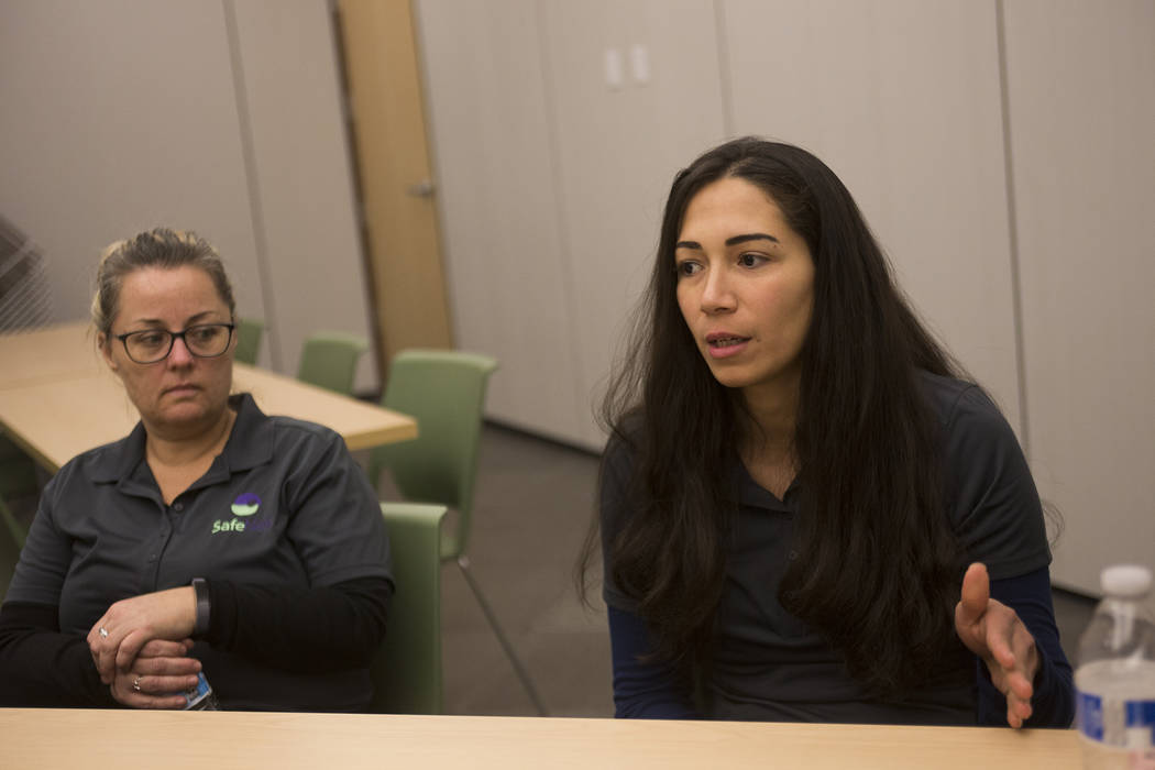 Sophia, a survivor of domestic violence, speaks to the Las Vegas Review-Journal at the SafeNest offices in Las Vegas, Thursday, Dec. 20, 2018. Sophia survived abusive relationships and is now a vo ...