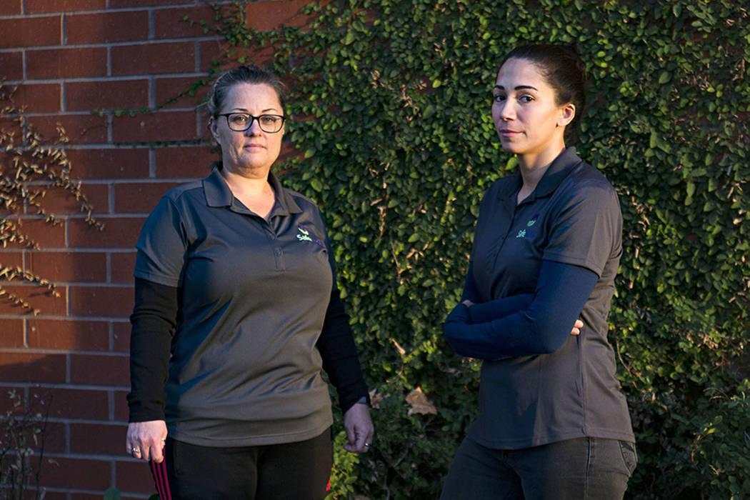 Julie Ferrari, left, and Sophia, right, both survivors of domestic violence, outside the SafeNest offices in Las Vegas, Thursday, Dec. 20, 2018. Rachel Aston Las Vegas Review-Journal @rookie__rae