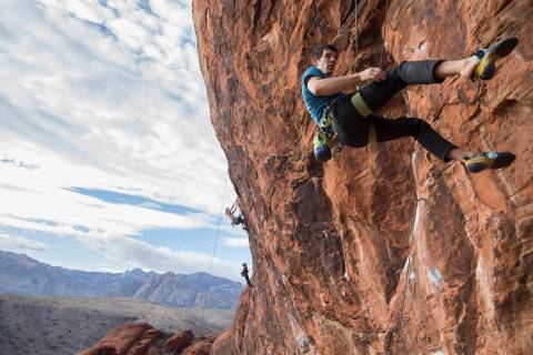 Alex Honnold descends The Gallery at Red Rock Canyon on Monday, Dec. 17, 2018, in Las Vegas. Ho ...