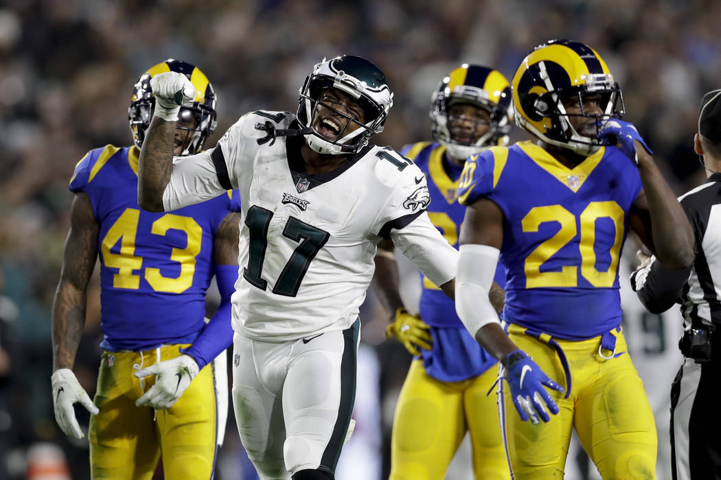 Philadelphia Eagles wide receiver Alshon Jeffery celebrates after a catch against the Los Angeles Rams during the first half in an NFL football game Sunday, Dec. 16, 2018, in Los Angeles. (AP Phot ...
