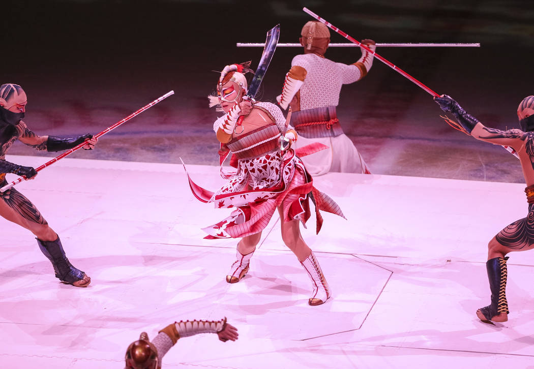 """Members of Cirque du Soleil's""""Ka""""perform on the first intermission during an NHL hockey game between the Vegas Golden Knights and the Montreal Canadiens at T-Mobile Arena ..."""