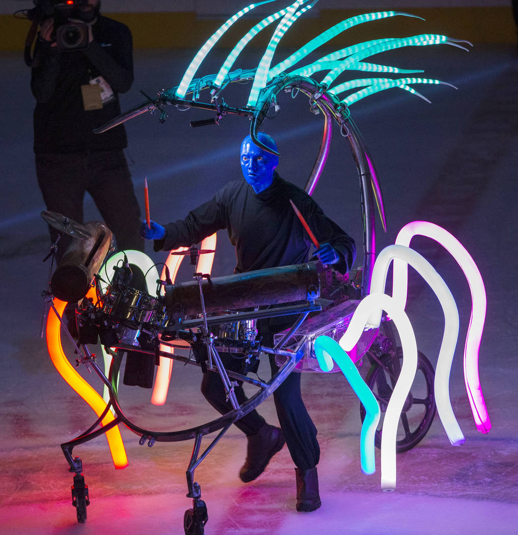 A member of Cirque du Soleil's Blue Man Group performs on the second intermission during an NHL hockey game between the Vegas Golden Knights and the Montreal Canadiens at T-Mobile Arena in Las Veg ...