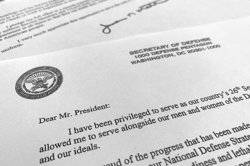 Part of Defense Secretary Jim Mattis' resignation letter to President Donald Trump is photographed in Washington, Thursday, Dec. 20, 2018. Mattis is stepping down from his post, Trump announced, a ...