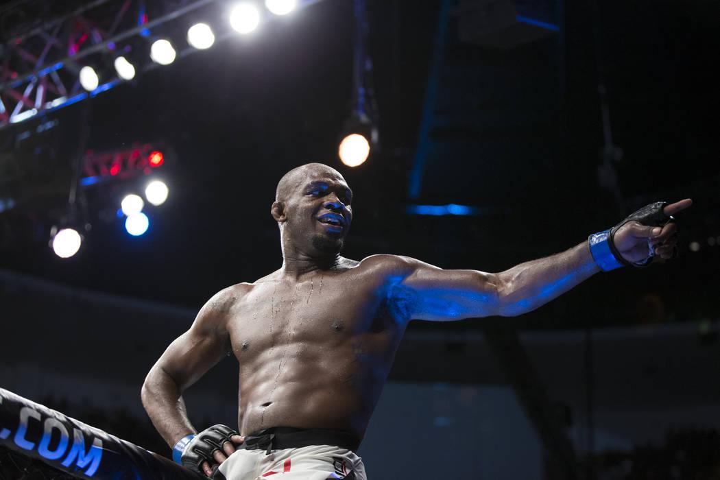 Jon Jones celebrates his win against Daniel Cormier in the light heavyweight title bout during UFC 214 at the Honda Center in Anaheim, Calif., on Saturday, July 29, 2017. Erik Verduzco Las Vegas R ...