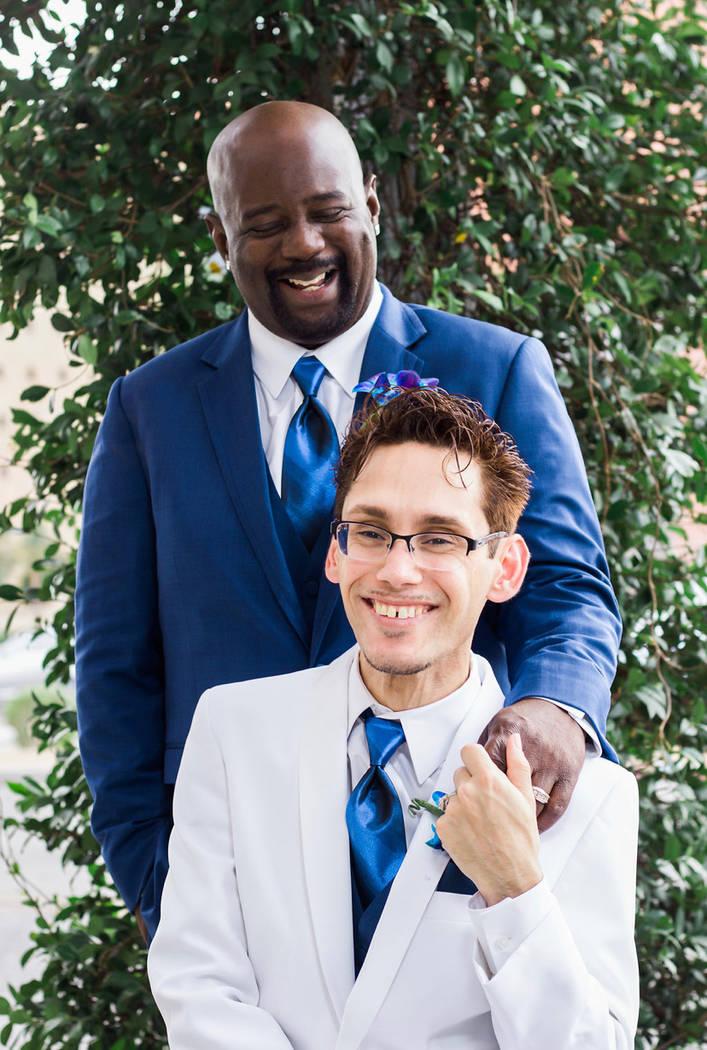 Billy Burts, top, and Jeffrey Martinez-Burts pose on their wedding day, June 10, 2017. (Photo courtesy Jeffrey Martinez-Burts)