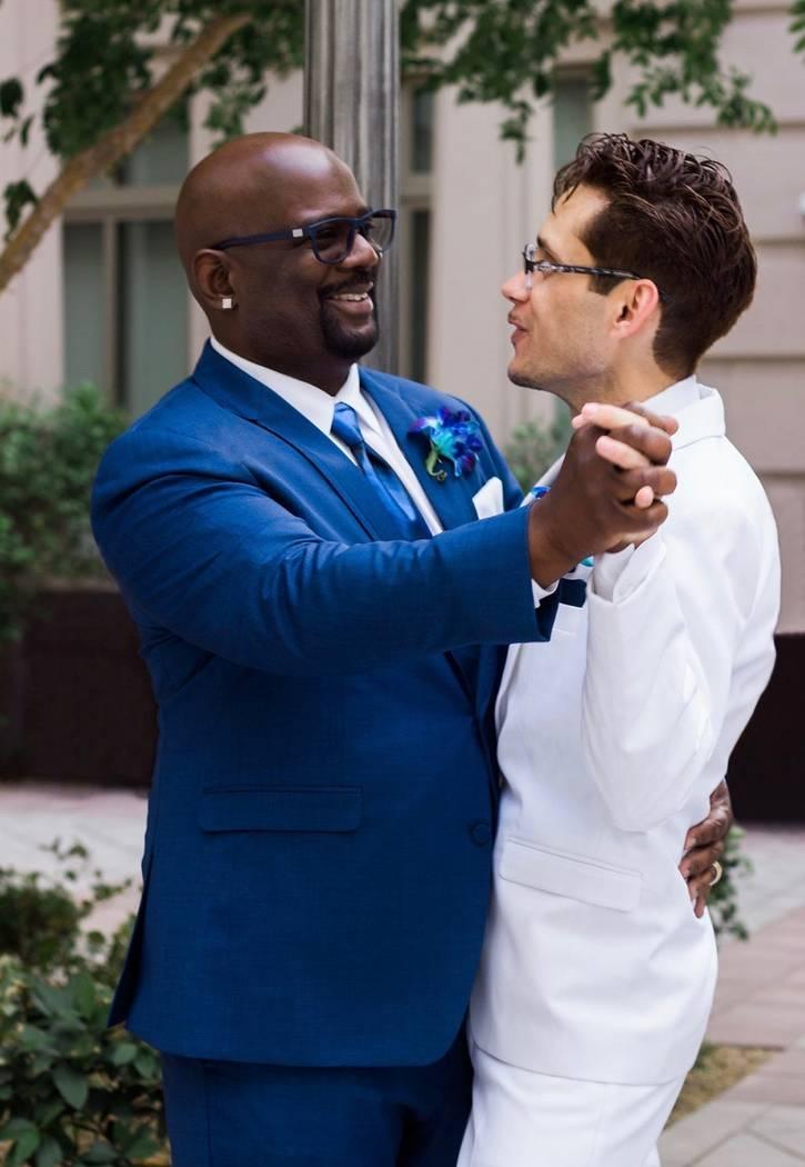 Billy Burts, left, and Jeffrey Martinez-Burts pose on their wedding day, June 10, 2017. (Photo courtesy Jeffrey Martinez-Burts)