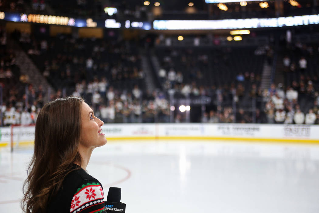 Alyson Lozoff, the rinkside reporter for the Vegas Golden Knights, before the Vegas Golden Knights and Los Angeles Kings game at T-Mobile Arena in Las Vegas, Sunday, Dec. 23, 2018. Rachel Aston La ...