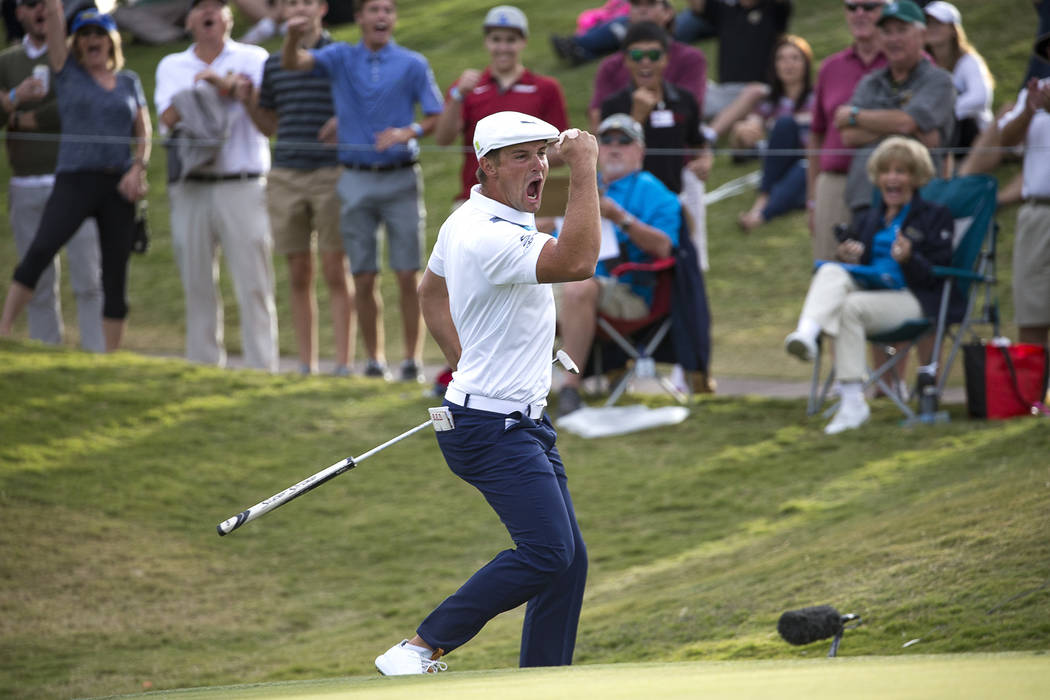 American golfer Bryson DeChambeau celebrates making eagle on the 16th green during the final round of the Shriners Hospitals for Children Open at TPC at Summerlin in Las Vegas on Sunday, Nov. 4, 2 ...