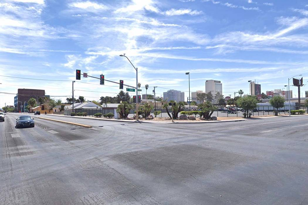 The intersection of Main Street and Bonanza Road in Las Vegas is pictured in this Google Street View image.