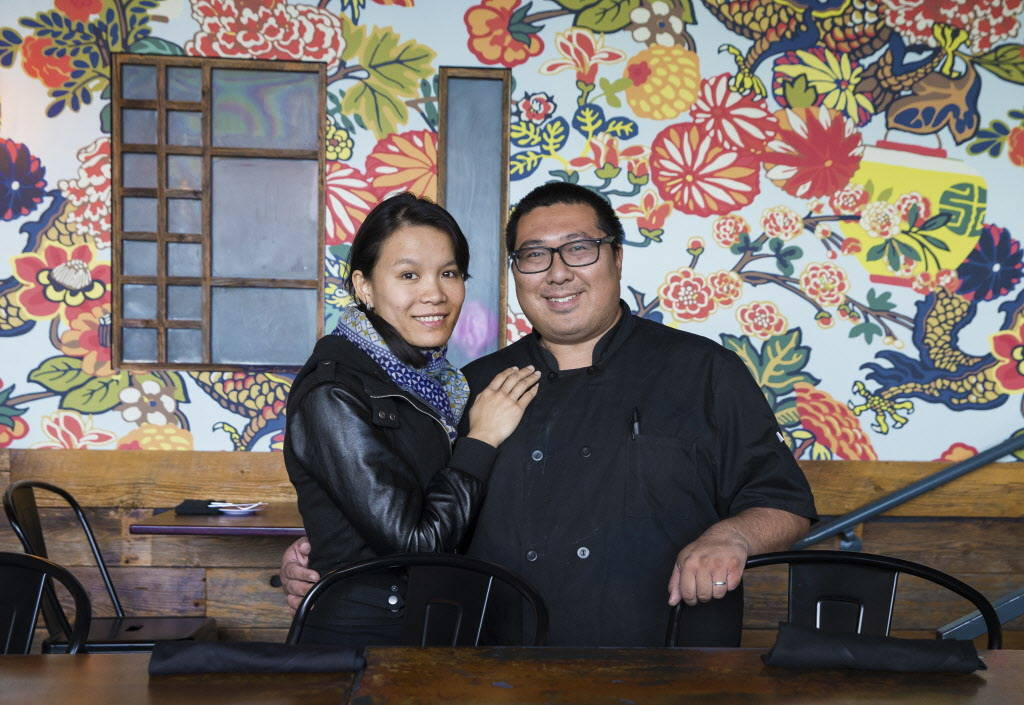 Flock & Fowl owners Chef Sheridan Su, right, and wife Jenny at their new location at The Ogden on Friday, February 23, 2018, in Las Vegas. Benjamin Hager Las Vegas Review-Journal @benjaminhphoto