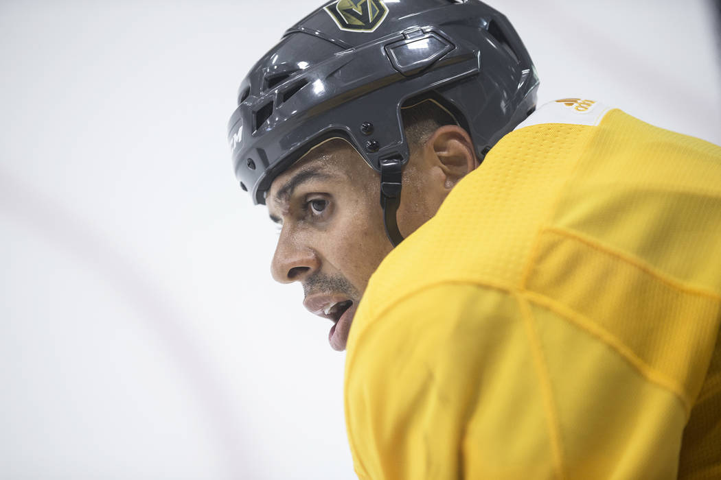 Golden Knights Ryan Reaves takes a breather during practice on Wednesday, Oct. 3, 2018, at City National Arena, in Las Vegas. Benjamin Hager Las Vegas Review-Journal @benjaminhphoto