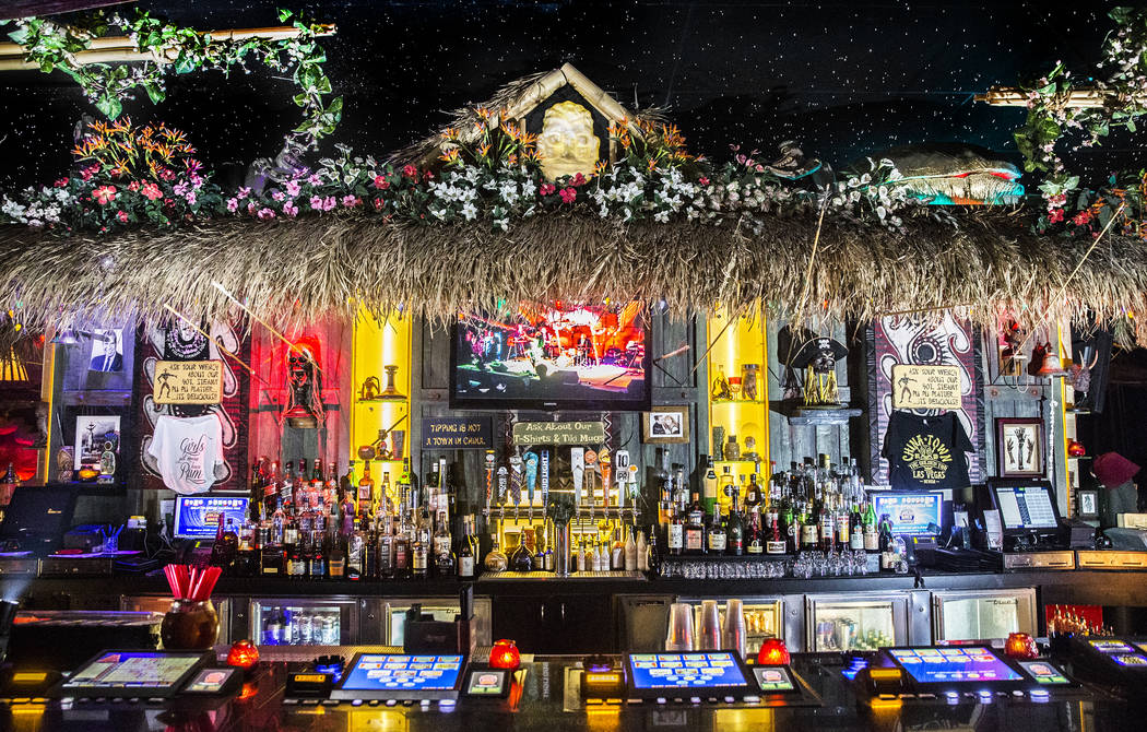 The beach-inspired bar at The Golden Tiki on Wednesday, Aug 16, 2017, in Las Vegas. (Benjamin Hager/Las Vegas Review-Journal) @benjaminhphoto