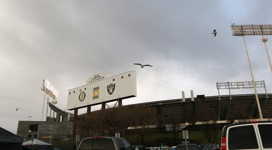Seagulls fly over the Oakland-Alameda County Coliseum before what could be the last NFL game the Oakland Raiders play in Oakland, Calif., Monday, Dec. 24, 2018. Heidi Fang Las Vegas Review-Journal ...