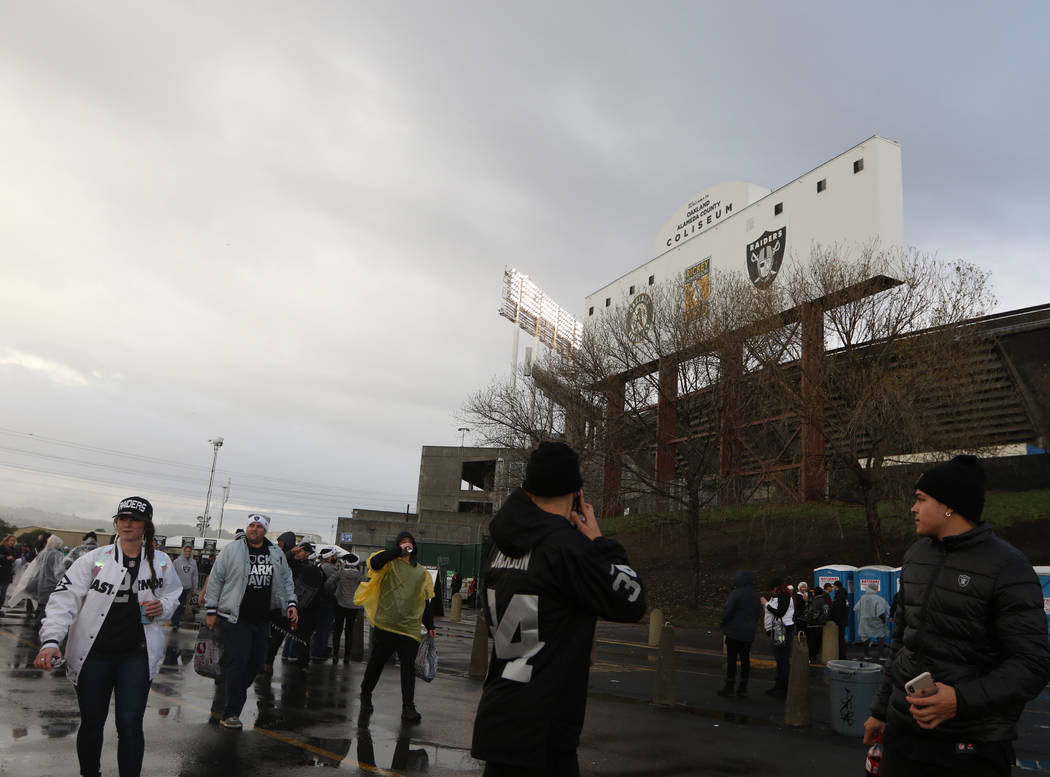 Fans filter into the Oakland-Alameda County Coliseum before what could be the last NFL game the Oakland Raiders play in Oakland, Calif., Monday, Dec. 24, 2018. Heidi Fang Las Vegas Review-Journal ...