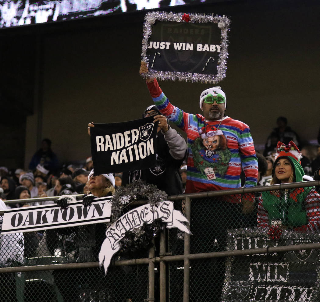 Oakland Raiders fans hold up signs during the first half of an NFL game against the Denver Broncos in Oakland, Calif., Monday, Dec. 24, 2018. Heidi Fang Las Vegas Review-Journal @HeidiFang