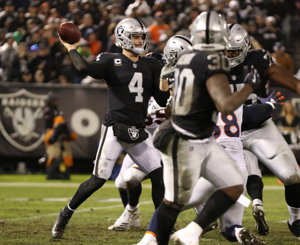 Oakland Raiders quarterback Derek Carr (4) throws the football during the first half of an NFL game against the Denver Broncos in Oakland, Calif., Monday, Dec. 24, 2018. Heidi Fang Las Vegas Revie ...