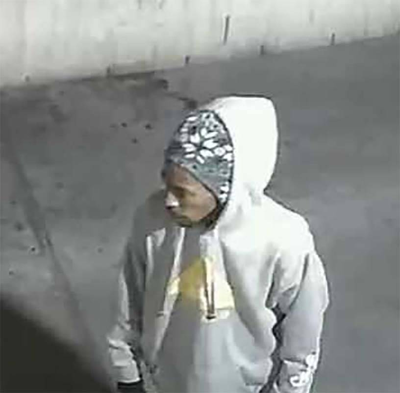 An image from security video shows a suspect in a robbery at a downtown Las Vegas convenience store last week. (Las Vegas Metropolitan Police Department)