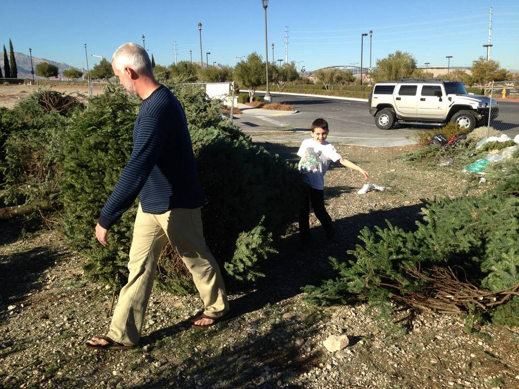 Summerlin residents recycle their Christmas tree at the at the lot adjacent RC Willey Home Furnishings, 3850 S. Town Center Drive, south of the 215 Beltway. (Summerlin)