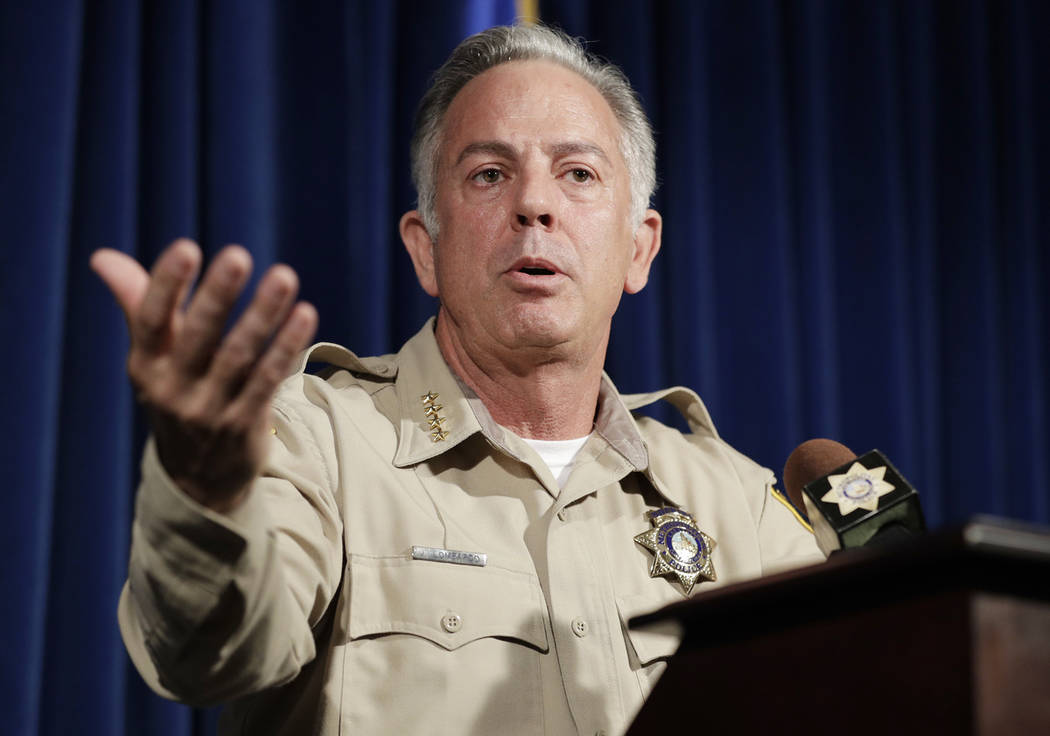 Clark County Sheriff Joe Lombardo speaks at a news conference regarding the Oct. 1 shooting on Friday, Aug. 3, 2018, in Las Vegas. More than 10 months after the deadliest mass shooting in modern ...