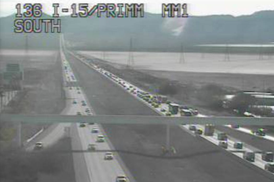 12-mile backup on I-15 as holiday travelers leave Las Vegas