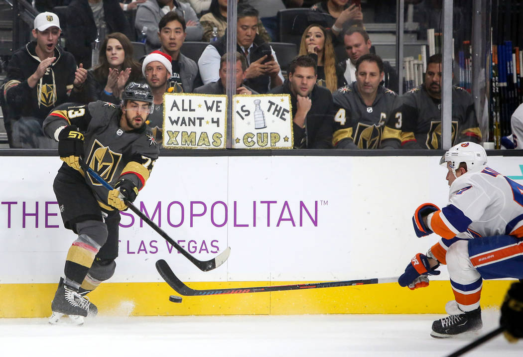 f6165f5eb Vegas Golden Knights center Brandon Pirri (73) drives the puck forward  during the first