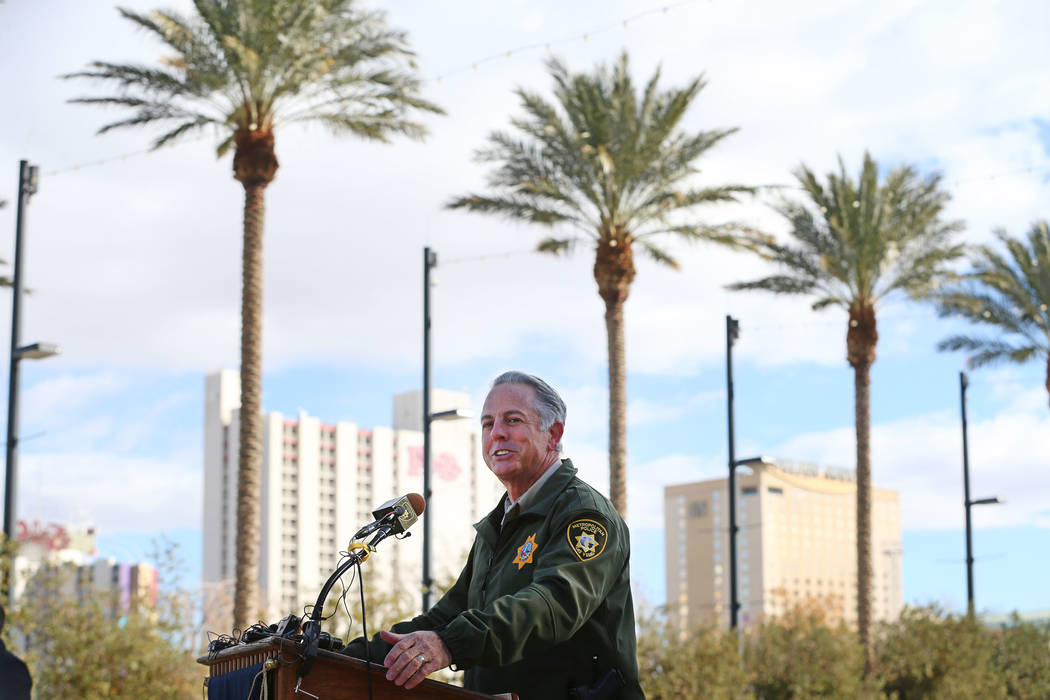 Clark County Sheriff Joe Lombardo speaks during a press conference on preparations for the upcoming New Year's Eve celebration, at Symphony Park in Las Vegas, on Thursday, Dec. 27, 2018. Er ...