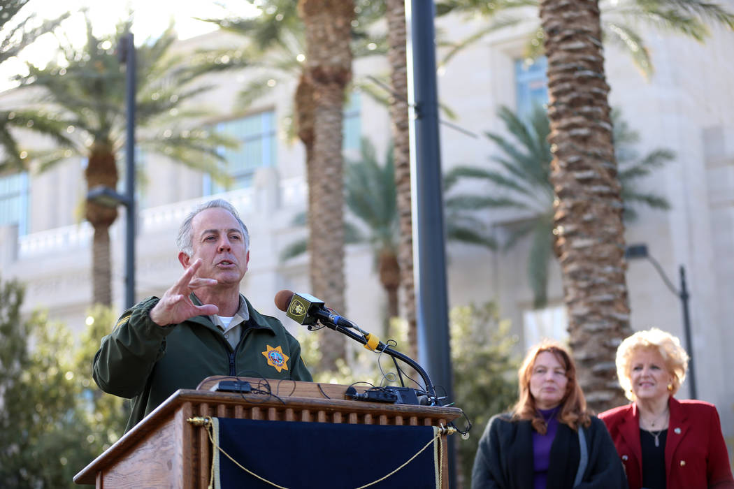 Clark County Sheriff Joe Lombardo speaks during a press conference on preparations for the upcoming New Yearճ Eve celebration, at Symphony Park in Las Vegas, on Thursday, Dec. 27, 2018. Las ...