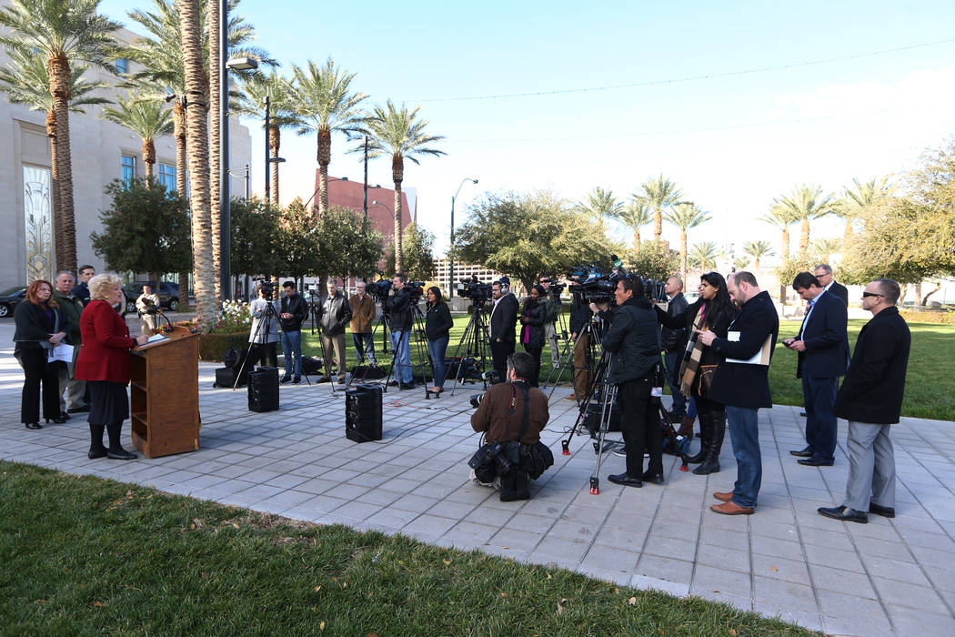 Las Vegas Mayor Carolyn Goodman speaks during a press conference on preparations for the upcoming New Year's Eve celebration, at Symphony Park in Las Vegas, on Thursday, Dec. 27, 2018. Erik ...