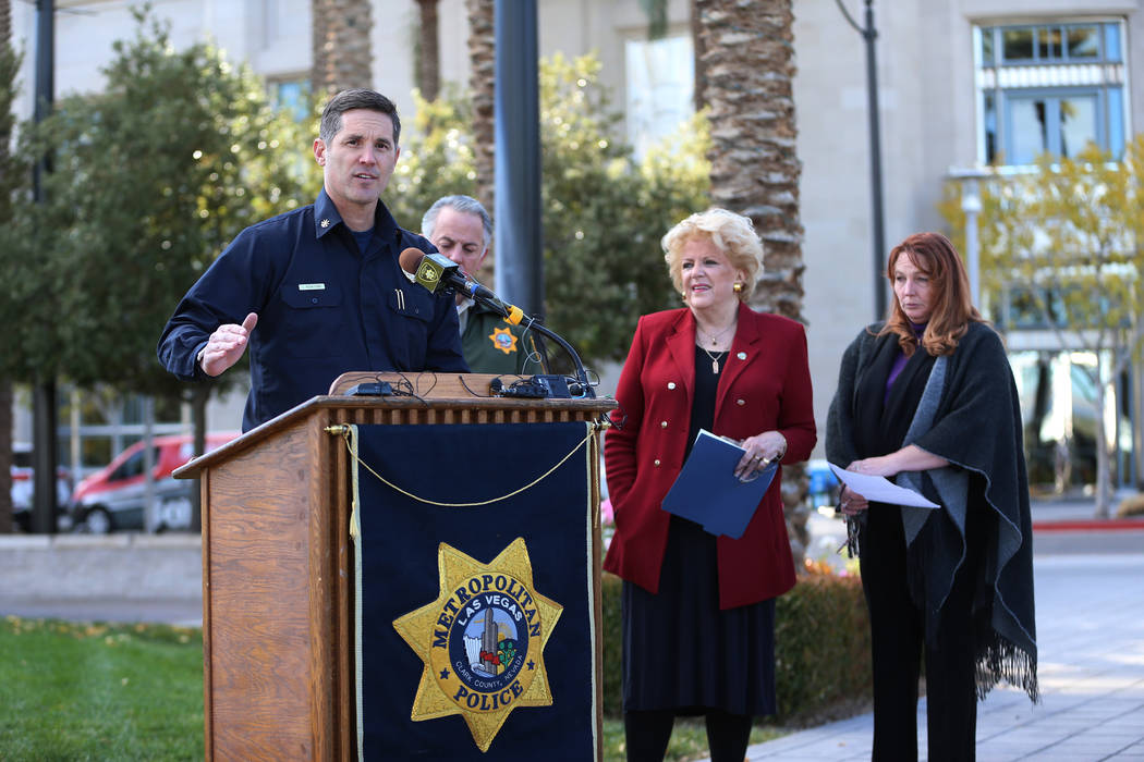 Clark County Deputy Fire Chief Jon Wiercinski, left, speaks during a press conference on preparations for the upcoming New Year's Eve celebration, at Symphony Park in Las Vegas, on Thursday ...