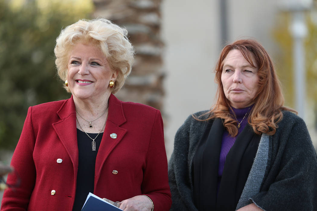 Las Vegas Mayor Carolyn Goodman, left, and Clark County Commissioner Marilyn Kirkpatrick during a press conference on preparations for the upcoming New Year's Eve celebration, at Symphony P ...