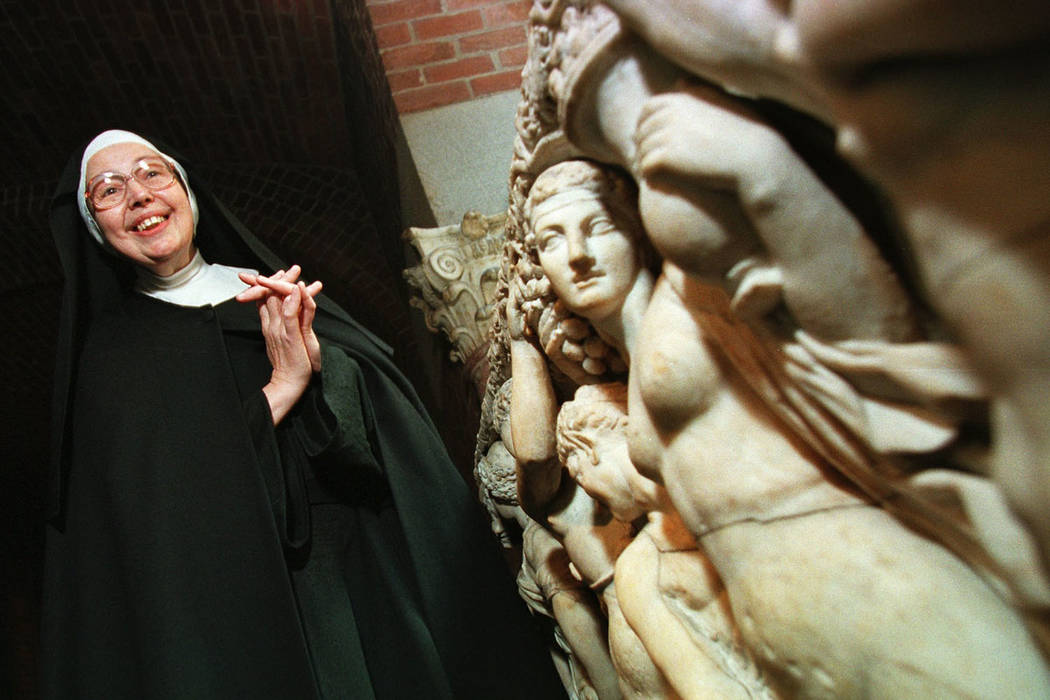 In this Thursday, Sept. 4, 1997 file photo, Sister Wendy Beckett, a Roman Catholic nun of the Sisters of Notre Dame, who lives in Colinton, England, and is a well-known art critic, stands near an ...
