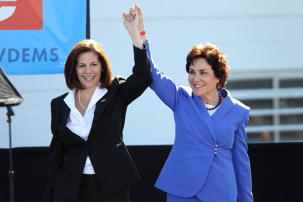 U.S. Sen. Catherine Cortez-Masto, left, and Rep. Jacky Rosen, during a Nevada State Democratic Party rally to promote voting at the Culinary Workers Union Local 226 headquarters in Las Vegas, Satu ...